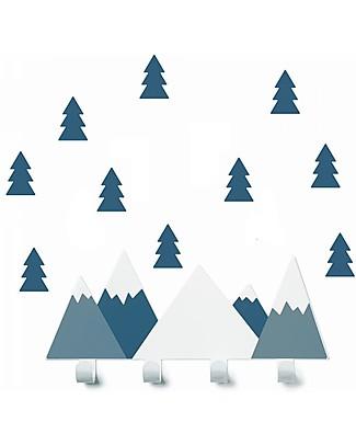 Tresxics Set Appendioggetti e Adesivi Amovibili da Parete Montagne e Abeti, Blu Appendiabiti e Grucce