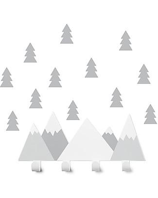 Tresxics Set Appendioggetti e Adesivi Amovibili da Parete Montagne e Abeti, Grigio Appendiabiti e Grucce