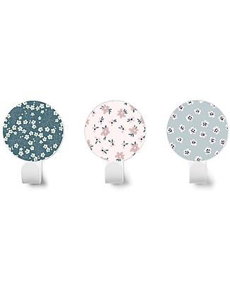 Tresxics Set di 3 Appendioggetti da Parete Fiori Liberty, Blu/Rosa/Celeste Appendiabiti e Grucce