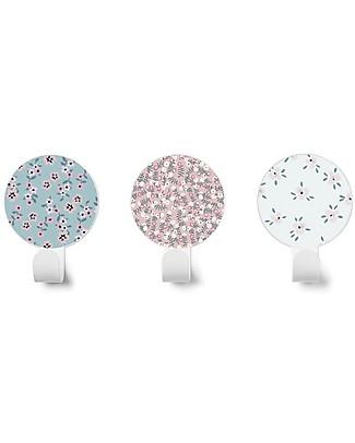 Tresxics Set di 3 Appendioggetti da Parete Fiori Liberty, Celeste/Rosa/Ghiaccio Appendiabiti e Grucce