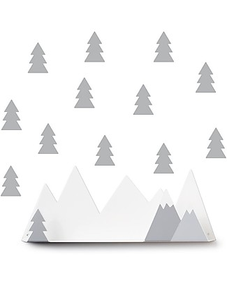 Tresxics Set Mensola Montagne e Adesivi Amovibili da Parete, Grigio Mensole