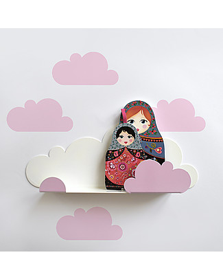 Tresxics Shelf Clouds with Stickers - Pink Wall Stickers