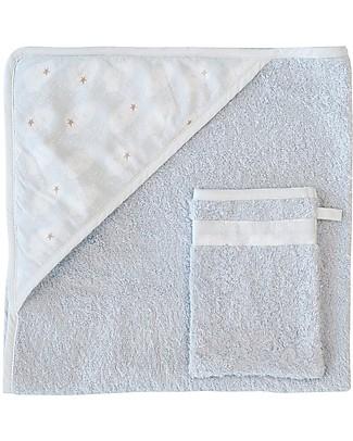 Trixie Asciugamano con Cappuccio e Asciugamano da Viso, Nuvole - 75x75cm Accappatoi e Asciugamani