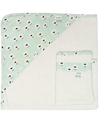 Trixie Asciugamano con Cappuccio e Asciugamano da Viso, Pecorelle - 75x75cm Accappatoi e Asciugamani