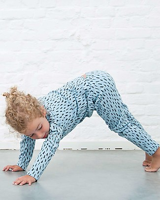 Trixie Pigiama 2 pezzi a Maniche Lunghe, Prato Blu - 100% Cotone Bio Pigiami