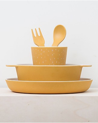 Trixie Tableware Set: Plate, Cup, Bowl, Fork&Spoon, Mr Lion - Bamboo Meal Sets