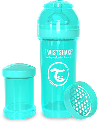 Twistshake Anti-Colic Baby Bottle 260 ml Teat M, Turquoise Sleepyhead - Includes formula container and mixing net. BPA, BPS and BPF-free! Anti-Colic Baby Bottles