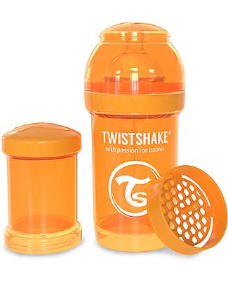 Twistshake Biberon Anti-Colica 180 ml, Arancione Sunbeam - Include contenitore e filtro latte! Senza BPA, BPS e BPF! Biberon Anti-Colica