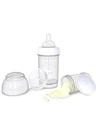 Twistshake Biberon Anti-Colica 180 ml, Bianco Diamond - Include contenitore e filtro latte! Senza BPA, BPS e BPF! Biberon Anti-Colica