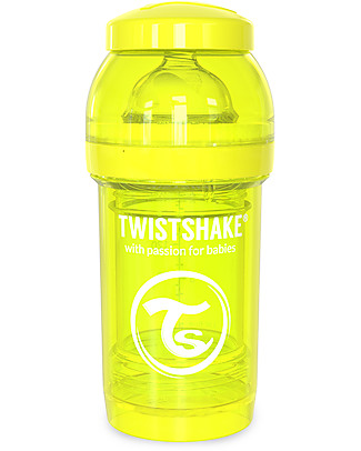 Twistshake Biberon Anti-Colica 180 ml, Giallo Starlight - Include contenitore e filtro latte! Senza BPA, BPS e BPF! Biberon Anti-Colica