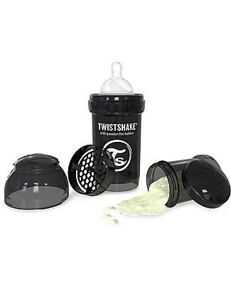 Twistshake Biberon Anti-Colica 180 ml, Nero Superhero - Include contenitore e filtro latte! Senza BPA, BPS e BPF! Biberon Anti-Colica