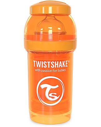 Twistshake Biberon Anti-Colica 180 ml Tettarella S, Arancione - Include contenitore e filtro latte. Senza BPA, BPS e BPF! Biberon Anti-Colica