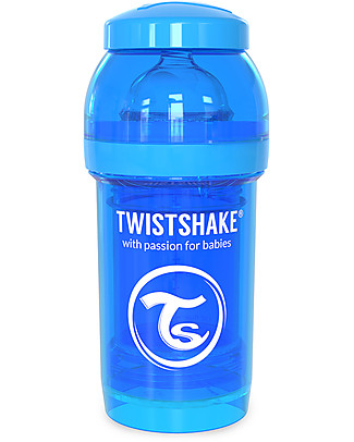 Twistshake Biberon Anti-Colica 180 ml Tettarella S, Blu - Include contenitore e filtro latte. Senza BPA, BPS e BPF! Biberon Anti-Colica