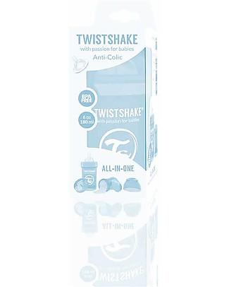 Twistshake Biberon Anti-Colica 180 ml Tettarella S, Blu pastello - Include contenitore e filtro latte. Senza BPA, BPS e BPF! Biberon Anti-Colica