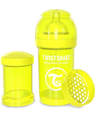 Twistshake Biberon Anti-Colica 180 ml Tettarella S, Giallo - Include contenitore e filtro latte. Senza BPA, BPS e BPF! Biberon Anti-Colica