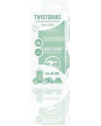 Twistshake Biberon Anti-Colica 180 ml Tettarella S, Menta - Include contenitore e filtro latte. Senza BPA, BPS e BPF! Biberon Anti-Colica