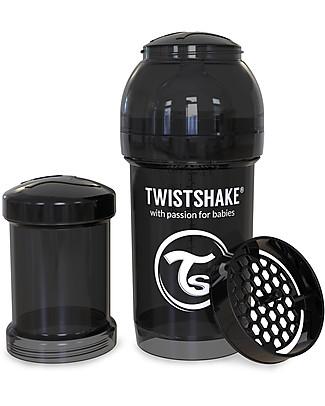 Twistshake Biberon Anti-Colica 180 ml Tettarella S, Nero - Include contenitore e filtro latte. Senza BPA, BPS e BPF! Biberon Anti-Colica