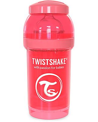 Twistshake Biberon Anti-Colica 180 ml Tettarella S, Pesca - Include contenitore e filtro latte. Senza BPA, BPS e BPF! Biberon Anti-Colica
