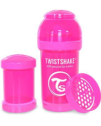 Twistshake Biberon Anti-Colica 180 ml Tettarella S, Rosa - Include contenitore e filtro latte. Senza BPA, BPS e BPF! Biberon Anti-Colica