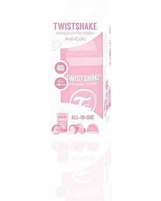 Twistshake Biberon Anti-Colica 180 ml Tettarella S, Rosa pastello - Include contenitore e filtro latte. Senza BPA, BPS e BPF! Biberon Anti-Colica