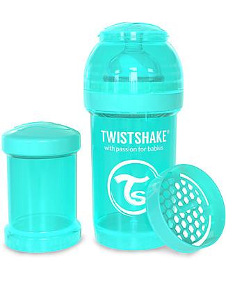 Twistshake Biberon Anti-Colica 180 ml Tettarella S, Turchese - Include contenitore e filtro latte. Senza BPA, BPS e BPF! Biberon Anti-Colica