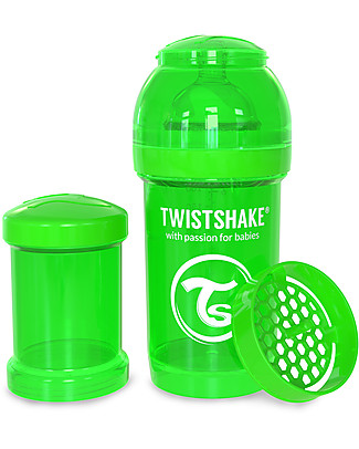 Twistshake Biberon Anti-Colica 180 ml Tettarella S, Verde - Include contenitore e filtro latte. Senza BPA, BPS e BPF! Biberon Anti-Colica