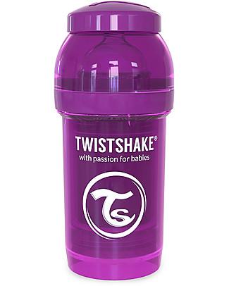 Twistshake Biberon Anti-Colica 180 ml Tettarella S, Viola - Include contenitore e filtro latte. Senza BPA, BPS e BPF! Biberon Anti-Colica