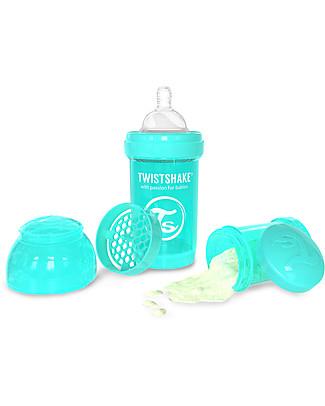 Twistshake Biberon Anti-Colica 180 ml, Turchese Sleepyhead - Include contenitore e filtro latte! Senza BPA, BPS e BPF! Biberon Anti-Colica
