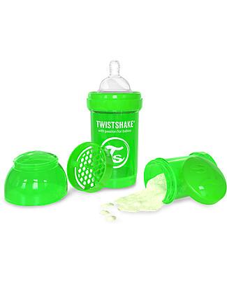 Twistshake Biberon Anti-Colica 180 ml, Verde Sugarpuss - Include contenitore e filtro latte! Senza BPA, BPS e BPF! Biberon Anti-Colica
