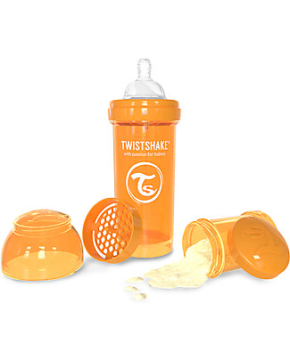 Twistshake Biberon Anti-Colica 260 ml, Arancione Sunbeam - Include contenitore e filtro latte! Senza BPA, BPS e BPF! Biberon Anti-Colica