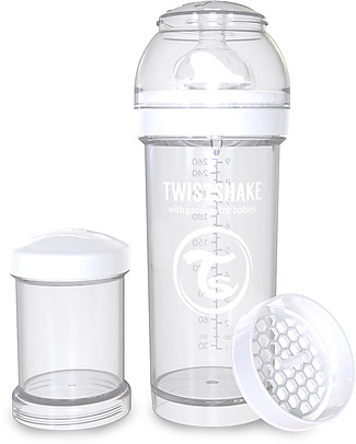 Twistshake Biberon Anti-Colica 260 ml, Bianco Diamond - Include contenitore e filtro latte! Senza BPA, BPS e BPF! Biberon Anti-Colica