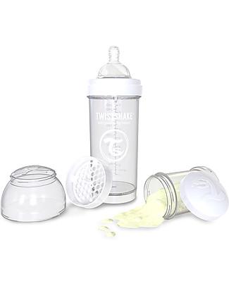 Twistshake Biberon Anti-Colica 260 ml, Bianco Diamond - Include contenitore e filtro latte! Senza BPA, BPS e BPF! Biberon Anti-Colica
