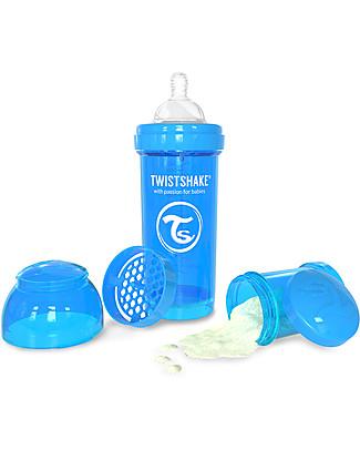 Twistshake Biberon Anti-Colica 260 ml, Blu Cookiecrumb - Include contenitore e filtro latte! Senza BPA, BPS e BPF! Biberon Anti-Colica