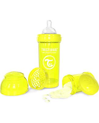 Twistshake Biberon Anti-Colica 260 ml, Giallo Starlight - Include contenitore e filtro latte! Senza BPA, BPS e BPF! Biberon Anti-Colica