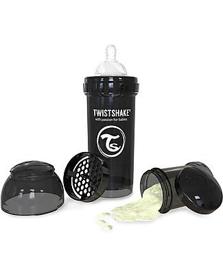 Twistshake Biberon Anti-Colica 260 ml, Nero Superhero - Include contenitore e filtro latte! Senza BPA, BPS e BPF! Biberon Anti-Colica