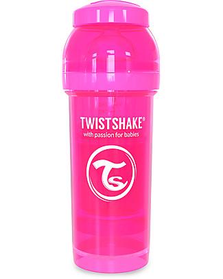 Twistshake Biberon Anti-Colica 260 ml, Rosa Crazymonkey – Include contenitore e filtro latte! Senza BPA, BPS e BPF! Biberon Anti-Colica