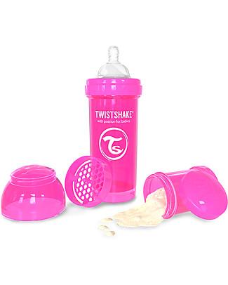 Twistshake Biberon Anti-Colica 260 ml, Rosa Crazymonkey - Include contenitore e filtro latte! Senza BPA, BPS e BPF! Biberon Anti-Colica