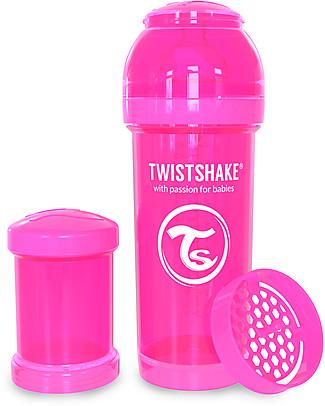 Twistshake Biberon Anti-Colica 260 ml Terrarella M, Rosa - Include contenitore e filtro latte. Senza BPA, BPS e BPF! Biberon Anti-Colica