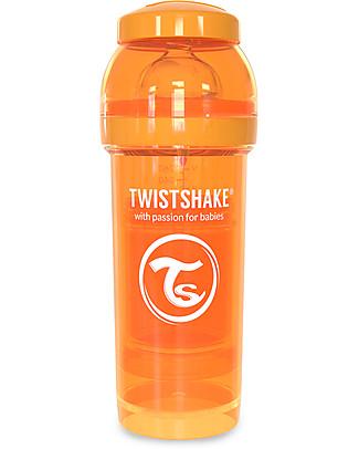 Twistshake Biberon Anti-Colica 260 ml Tettarella M, Arancione - Include contenitore e filtro latte. Senza BPA, BPS e BPF! Biberon Anti-Colica