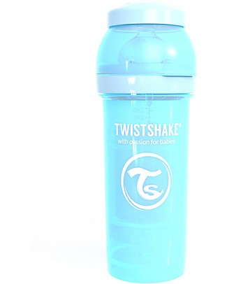Twistshake Biberon Anti-Colica 260 ml Tettarella M, Azzurro Pastello - Include contenitore e filtro latte - Senza BPA, BPS e BPF! Biberon Anti-Colica