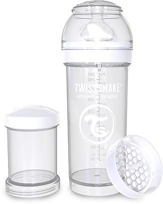 Twistshake Biberon Anti-Colica 260 ml Tettarella M, Bianco - Include contenitore e filtro latte. Senza BPA, BPS e BPF! Biberon Anti-Colica