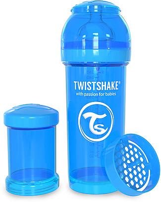 Twistshake Biberon Anti-Colica 260 ml Tettarella M, Blu - Include contenitore e filtro latte. Senza BPA, BPS e BPF! Biberon Anti-Colica