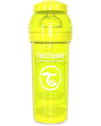 Twistshake Biberon Anti-Colica 260 ml Tettarella M, Giallo - Include contenitore e filtro latte. Senza BPA, BPS e BPF! Biberon Anti-Colica