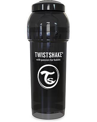 Twistshake Biberon Anti-Colica 260 ml Tettarella M, Nero - Include contenitore e filtro latte. Senza BPA, BPS e BPF! Biberon Anti-Colica