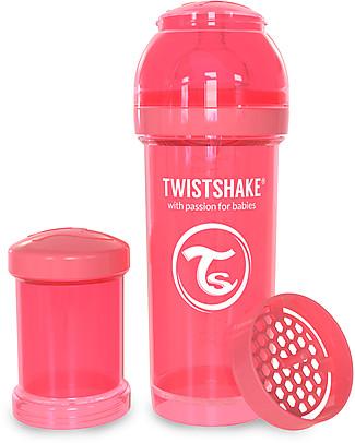 Twistshake Biberon Anti-Colica 260 ml Tettarella M, Pesca - Include contenitore e filtro latte. Senza BPA, BPS e BPF! Biberon Anti-Colica