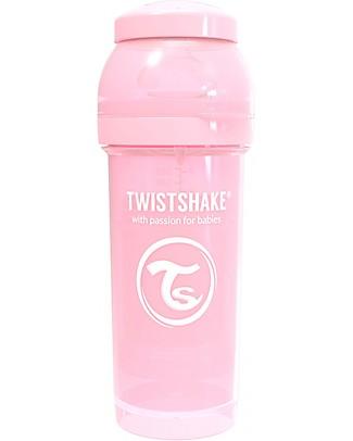 Twistshake Biberon Anti-Colica 260 ml Tettarella M, Rosa Pastello - Include contenitore e filtro latte - Senza BPA, BPS e BPF! Biberon Anti-Colica