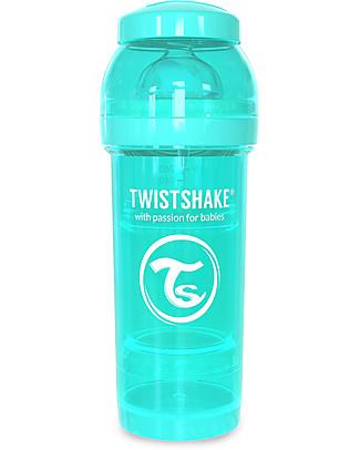 Twistshake Biberon Anti-Colica 260 ml Tettarella M, Turchese - Include contenitore e filtro latte. Senza BPA, BPS e BPF! Biberon Anti-Colica