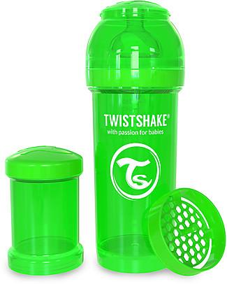 Twistshake Biberon Anti-Colica 260 ml Tettarella M, Verde - Include contenitore e filtro latte. Senza BPA, BPS e BPF! Biberon Anti-Colica