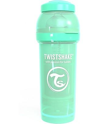 Twistshake Biberon Anti-Colica 260 ml Tettarella M, Verde Pastello - Include contenitore e filtro latte - Senza BPA, BPS e BPF! Biberon Anti-Colica