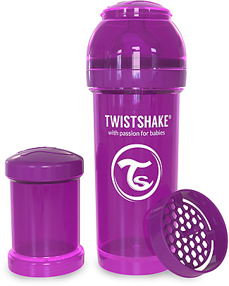Twistshake Biberon Anti-Colica 260 ml Tettarella M, Viola - Include contenitore e filtro latte. Senza BPA, BPS e BPF! Biberon Anti-Colica